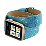 Sport Band for Apple Watch 42mm, Gotd Leather Strap Bracelet Wrist Band Replacement Watch Band For Apple Watch 42mm Series 3, Series 2, Series 1, Large Small, Men Women (Blue)