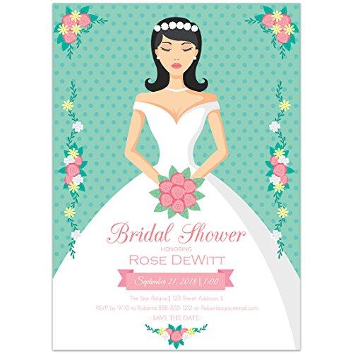 Bride Green Dots Bouquet Bridal Shower (Invitations Bridal Bouquet)