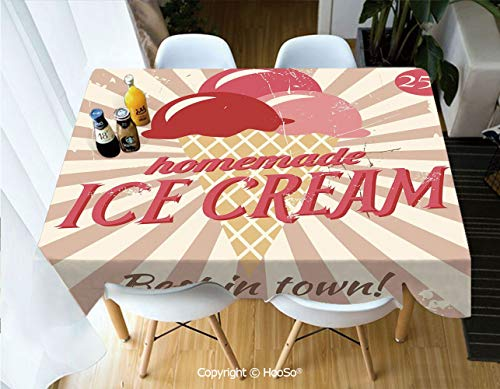 Rectangle Table Cloth, Water Resistant Microfiber Tablecloth, Decorative Fabric Table Cover for Outdoor and Indoor Use,Ice Cream Decor,Vintage Sign with Homemade Ice Cream,60