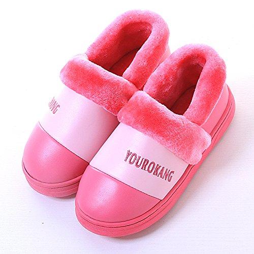 Y-Hui in inverno uomini pantofole di cotone con tutte le scarpe da donna Home Arredo Pu impermeabile fondo spesso paio di scarpe caldo,38-39 metri,rosa rosso
