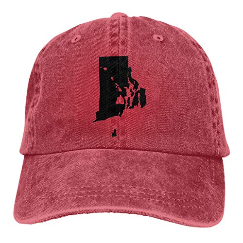 Re&Tro Men Women Rhode Island and Hawai'i Roots Adjustable Jeans Baseball Cap Trucker Hat Red ()