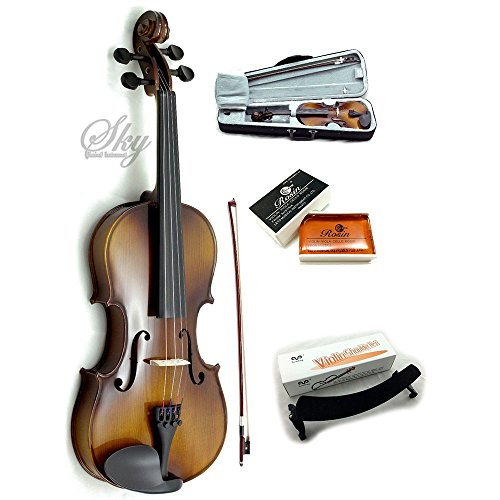 Sky Brand New Solid Wood Antique Viola Outfit with Lightweight Case, Bow and Rosin (14 Inch) by Sky Music