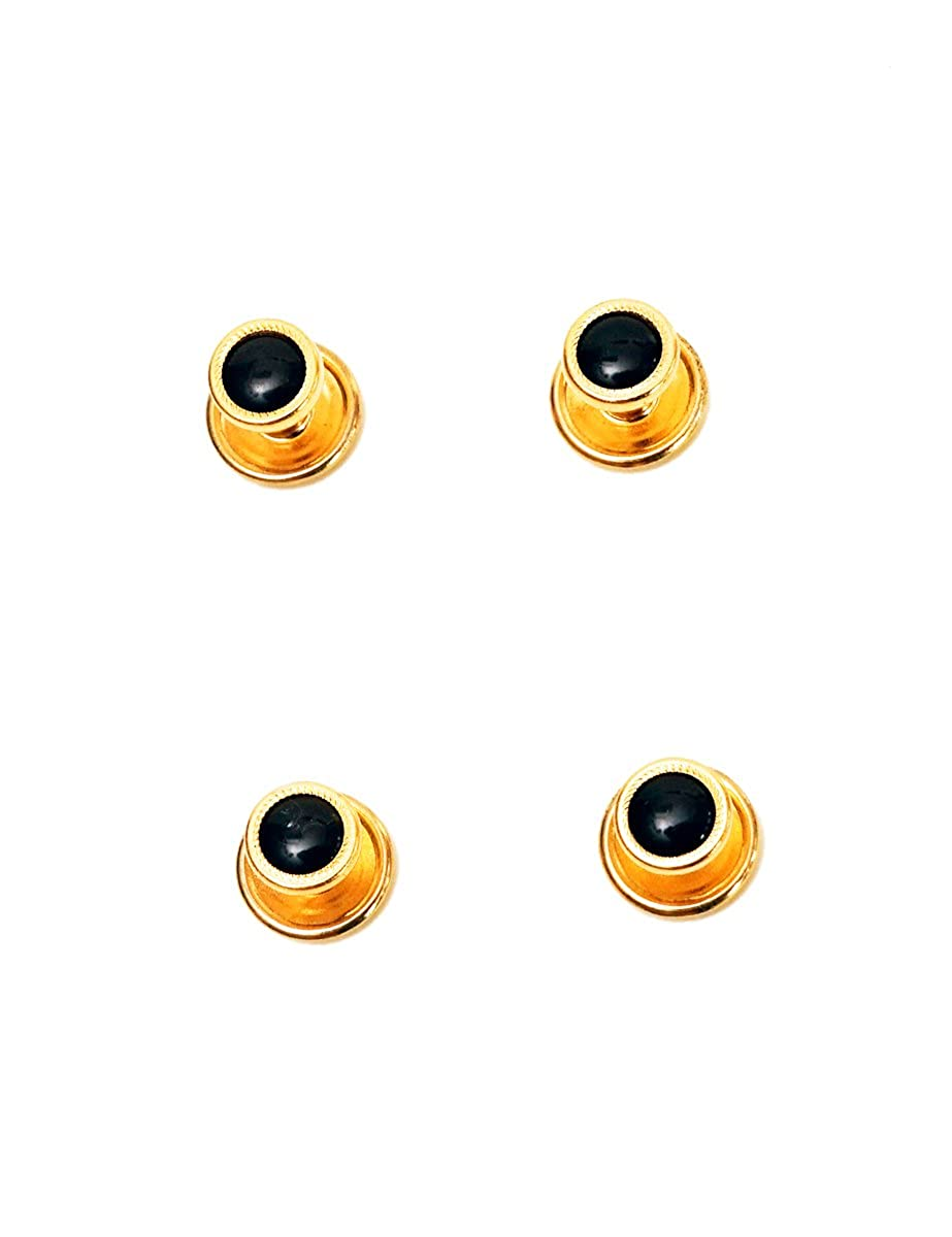 4 Black Studs with gold Color Textured Trimming for Tuxedo Shirts gold textured studs
