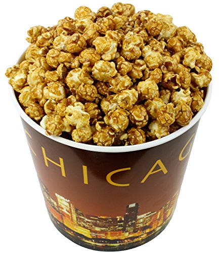 Signature Popcorn - Gourmet Caramel Flavor - 1-Gallon Gold Chicago Skyline Reusable Plastic Tin - Sweet Gift