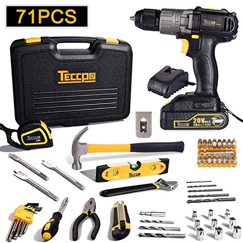 Cordless Drill, 71-Piece Home Tool Kit, TECCPO 20V Drill Driver with 2.0Ah Battery and Fast Charger, Hammer, Slotted Screwdriver and Wrench with Plastic Toolbox Storage Case