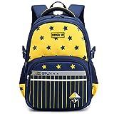 Uniuooi Primary School Backpack Book Bag for Boys Girls 5-12 years old Waterproof Nylon Kids Schoolbag Travel Rucksack, Striped and Star Pattern (Navy + Yellow)