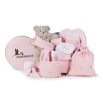Canastilla regalo bebé en Caja Vintage Clásica Plena con Oso BebeDeParis-Rosa- set regalo recién nacido