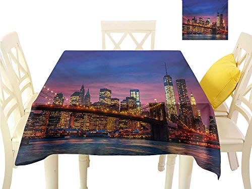 familytaste Table Cover New York,NYC That Never Sleeps Reflections on Manhattan East River City Image Photo Print,Pink Blue Tablecloth Party Wedding W 36