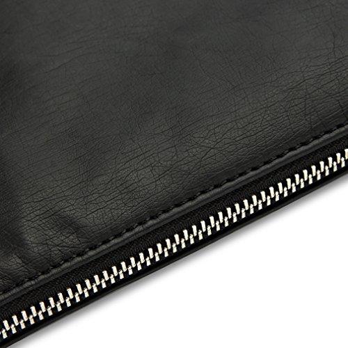 DOMISO Leder and Fashion Underarm bag oder die tasche nach men 's Business Oder Tourism (Black)