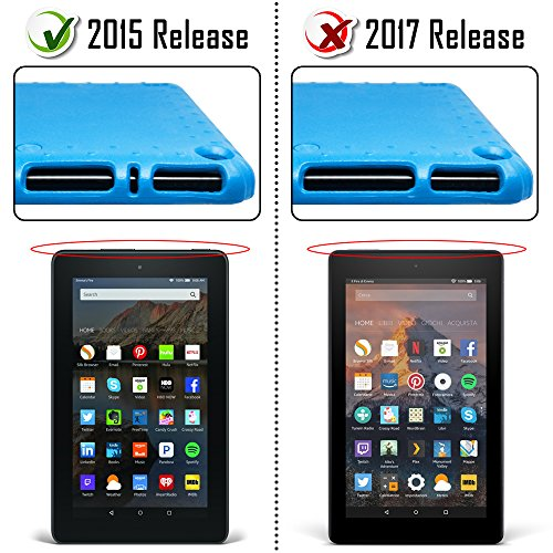 AFUNTA Tablet 7 2015 Case,Light Weight Shock Proof Convertible Handle Stand EVA Protective Kids Case for 7 inch Display Tablet (5th Generation - 2015 Release Only)-Blue by AFUNTA (Image #1)'