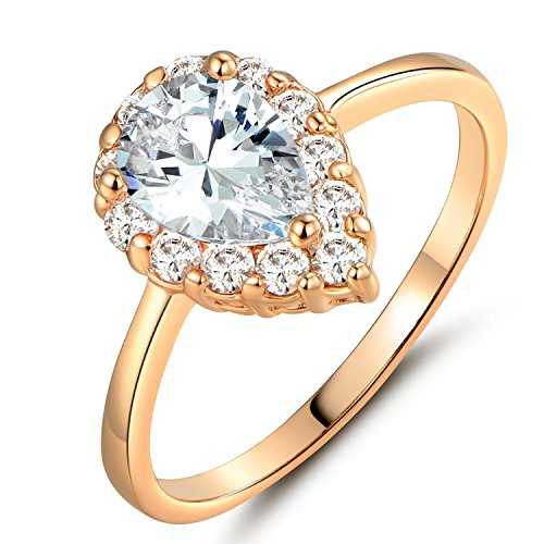 GULICX Women's Pear-Cut Cubic Zirconia Teardrop Halo Ring Yellow Gold Tone Charming Party Jewelry