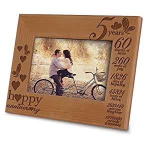 "Bella Busta- Happy 5th Anniversary-5 Years,Months, Weeks, Days, Hours, Weeks, Minutes, Seconds- 5th anniversary wood gift- Engraved Wood Picture Frame (4"" X 6"" Horizontal)"