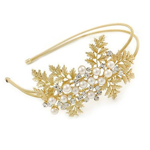 Avalaya Bridal/Wedding/Prom Matte Bright Gold Tone Clear Crystal, White Faux Pearl Floral Tiara Headband - Flex ()