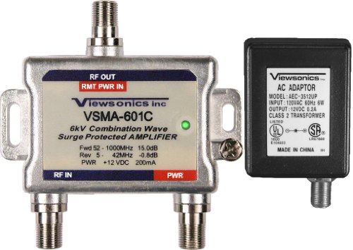Viewsonics VSMA-601C 1-Port 15dB Cable TV HDTV Signal Booster / Amplifier (Retail (Coax Cable Booster)