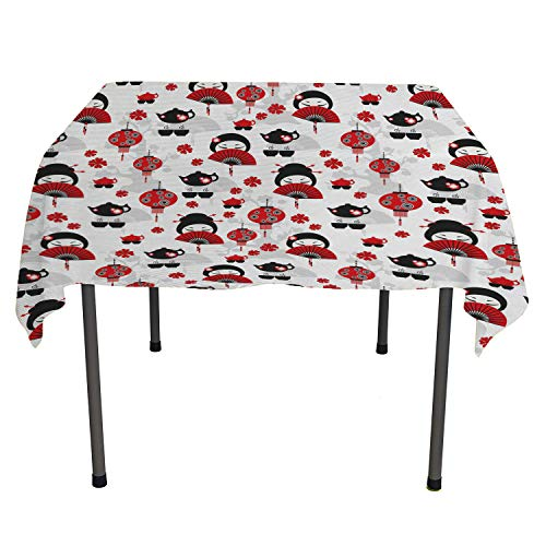 Lantern Clear Tablecloth Geisha Japanese Fan Ancient Chinese Traditional Tea Pot Floral Graphic Design Reusable Tablecloth Black Red Square Tablecloth 54 by 54 inch