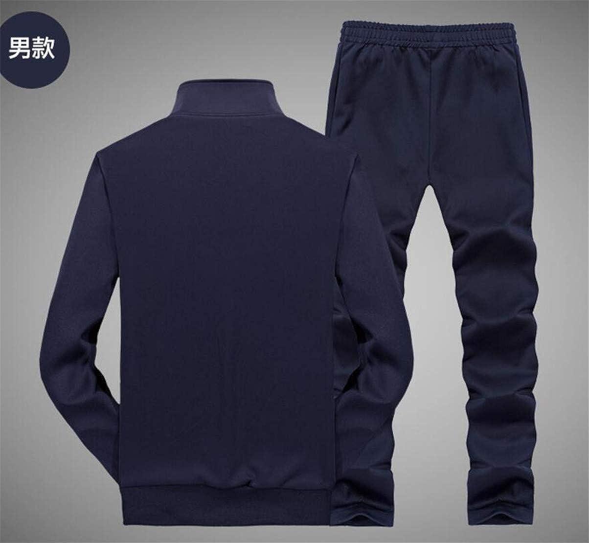 Spirio Men Stand Collar Jacket Two Pieces Sport Pants Tracksuit Sweatsuit Set