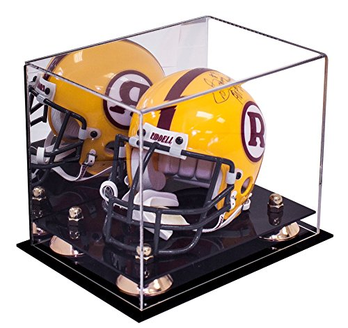 Deluxe Acrylic Mini - Miniature (not Full Size) Football Helmet Display Case with Gold Risers and Mirror (A003-GR)