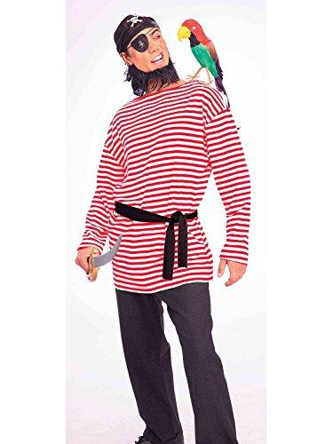 Forum Novelties Men's Pirate Matie Costume Shirt, Red/White, Standard