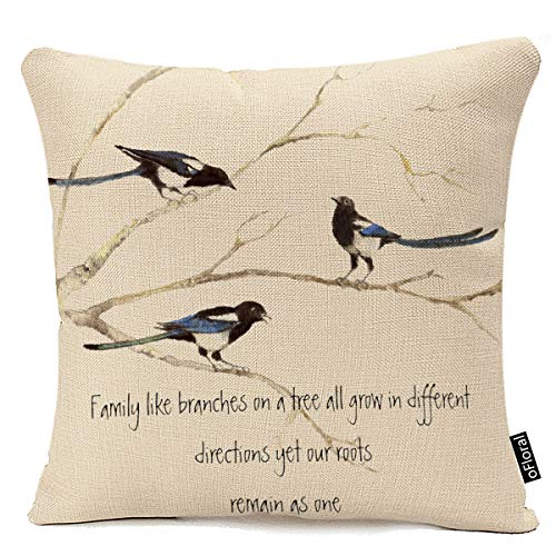 Decorative Throw Pillow Covers 18x18 Inches Cotton Linen Birds Branch Quote Couch Pillow Case for Home Office Sofa Car