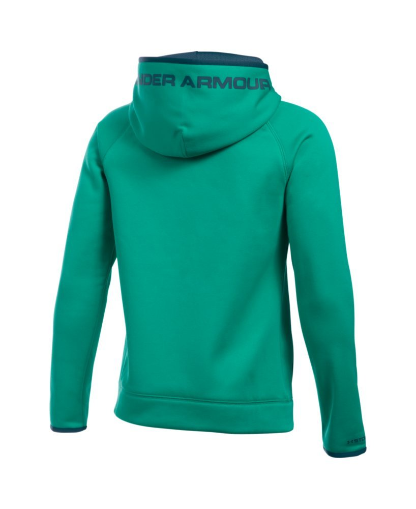 Under Armour Boys' Storm Armour Fleece Highlight Big Logo Hoodie, Geode Green/Nova Teal, Youth Small by Under Armour (Image #2)