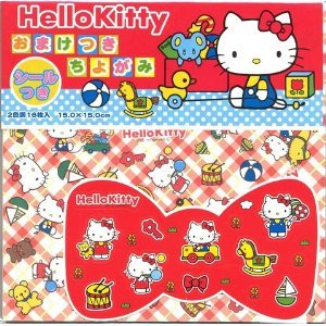 "Hello Kitty Chiyogami 6"" 16 Sheets 2 Design W/ Sticker"
