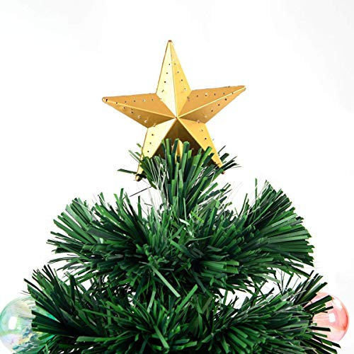 Safeplus Artificial Christmas Tree with Fiber Optic Filaments, Colorful Balls and Golden Star (4ft) by Safeplus (Image #2)