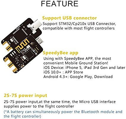 SpeedyBee Bluetooth Adapter Convenient Mobile Ground Station Supported iOS  and Android for FPV F4 Flight Drone Controller