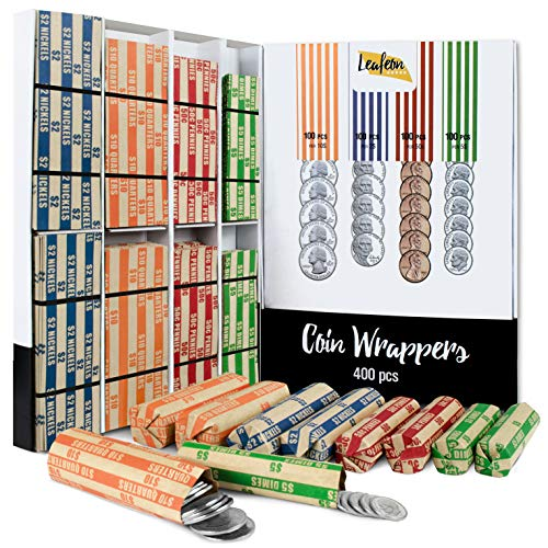 400 Assorted Coin Wrappers of Nickel - Quarter Wrappers - Penny Wrappers and Dime Wrappers - ABA Striped Kraft Paper Coin Roll Wrappers - Flat Coin Wraps Used with Coin Organizer, Counter and Sorter