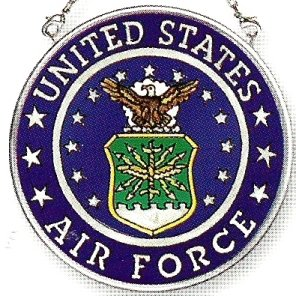 Air Force Suncatcher - Amia Hand Painted Glass Suncatcher with United States Air Force Logo, 3-1/2-Inch Circle