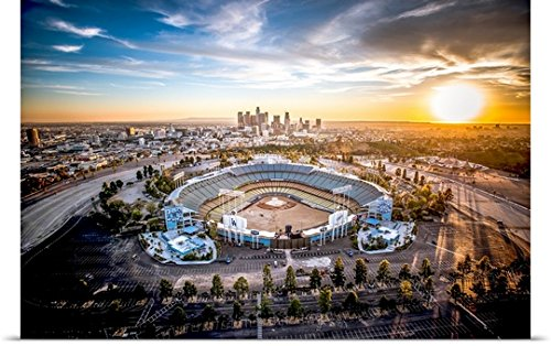 "greatBIGcanvas Poster Print entitled Aerial View of the Dodgers Stadium with the Los Angeles Skyline in the distance by Copterpilot Photography 36""x24"""