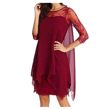 d8507243feb68c TOPSPEED Women Fashion Chiffon Dress 3/4 Sleeve Knee Length Asymmetrical Overlay  Round Collar 5XL Casual Lace Dresses Fashion Summer Party Prom Mini Dress  ...
