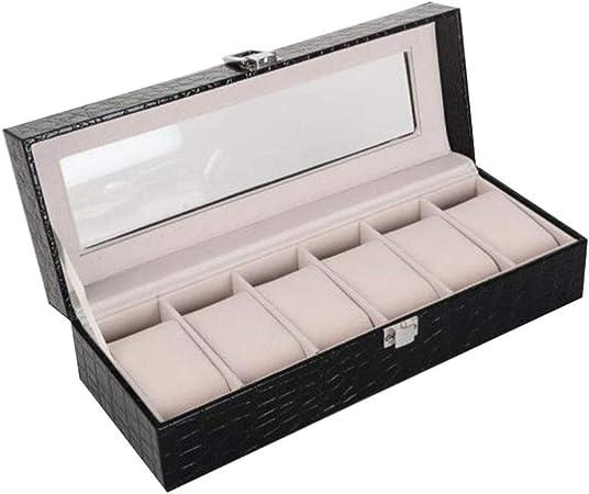 Vosarea - Caja de Almacenamiento de Joyas con 6 Rejillas de Piel sintética para Pulseras de Reloj: Amazon.es: Hogar