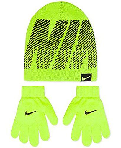Nike Air Jordan Youth Boys 2-Piece Reversable Ski Cap Gloves Set Wolf Voly Yellow/Black Size 8/20