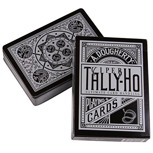 Playing Cards Poker Circle - Ellusionist Tally-Ho Viper Fan Back Playing Cards - Black with Silver Metallic Finish