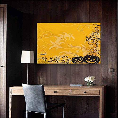 duommhome Halloween Abstract Painting Carved Pumpkins with Floral Patterns Bats and Web Horror Jack o Lantern Artwork Natural Art 20