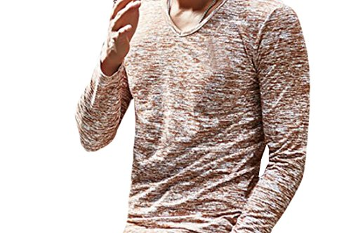X-Future Men's Solid Color Cotton Long Sleeve V Neck T-Shirts 4 L (4l Shirt X)