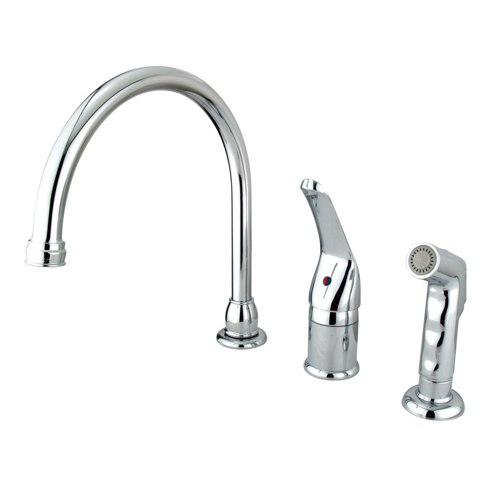 Kingston Brass KB821+ Chatham Single Lever Handle Kitchen Faucet with Sprayer without Soap Dispenser, 9'', Polished Chrome Finish by Kingston Brass