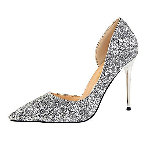 mariage Sandals High Élégant Petit Soirée Chaussures Sexy Femme Dansante Hauts talons Silver Brillant Talon Escarpins AgwYWtqnXx