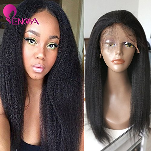 Natural Looking Italian Yaki Lace Front Wigs/ Silk Top Lace Front Wigs Best Brazilian Remy Human Hair Wigs with Baby Hair for African Americans 130 Density (20'' Lace Front Wig) by Enoya