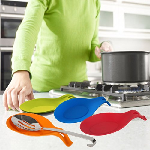 Kitchen Meister Silicone Spoon Rest, Colorful, Set of 4