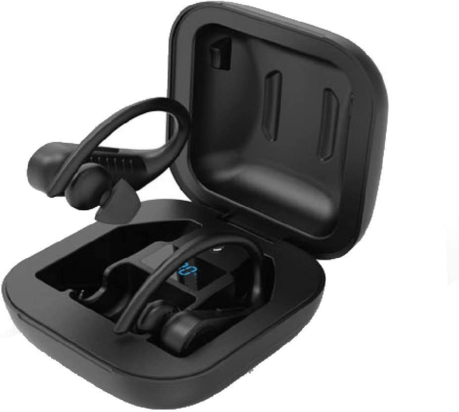 Barcley Wireless Earbuds, Bluetooth Headphones 5.0 True Wireless Sport IPX5 Waterproof Earphones Built-in Mic in Ear Running Headset with Earhooks Charging Case Compatible with iOS Android (Black)