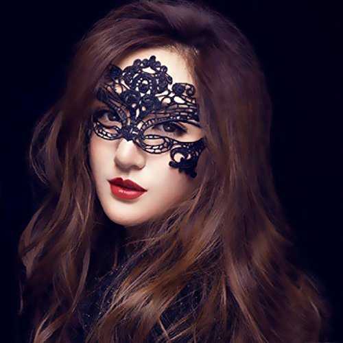 Masquerade Lace Mask Catwoman Halloween Black Cutout Prom Party Mask Accessories ,Tuscom (Black)]()