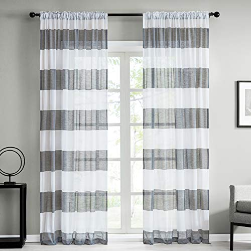 Top Finel Sheer Curtains 63 Inch Length for Bedroom Living Room Rod Pocket Light Grey Horizontal Striped Yarn Dyed Window Curtains, 2 Panels