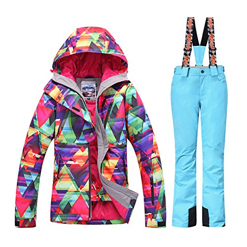 (HOTIAN Women's High Windproof Technology Colorful Snowboard Ski Jacket Pants Set)