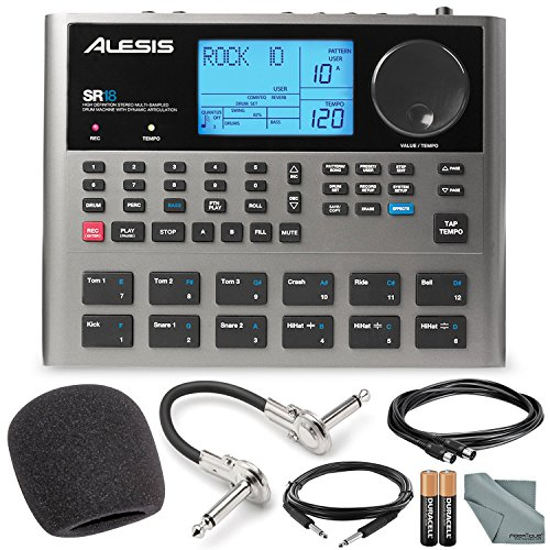 Alesis SR18 18 Bit Portable Drum Machine with Effects and Accessory Bundle w/ Cables + Fibertique Cloth + Mic Windscreen by Photo Savings
