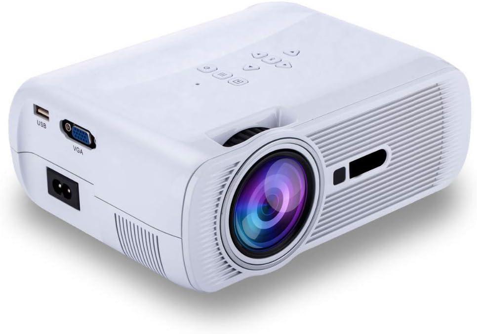 プロジェクター、1000ルーメンHDビデオプロジェクターホームシネマLCD映画プロジェクターサポート1080p HDMI VGA Av USBホームエンターテイメントパーティーゲームに最適,White