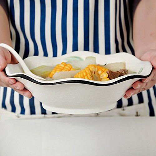 Household Tableware Japanese Style Ceramic Creative Wavy Edge Ramen Soup Bowl Salad Dessert Fruit Plate (Size: Diameter 25CM High 7.5CM)