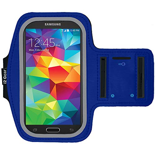 i2 Gear Cell Phone Armband Case for Running - Workout Phone Holder with Adjustable Arm Band and Reflective Border - Medium Armband for iPhone 8, 7, 6, 6S, Galaxy S6, S5, S4, HTC One, Purple, Blue