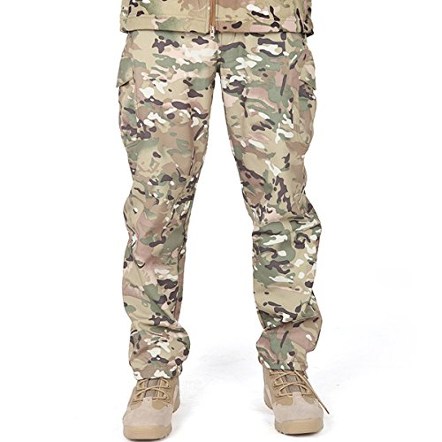 FREE SOLDIER Men's Outdoor Water Repellent Windproof Softshell Fleece Lined Cargo Snow Hiking Pants(Multicam ()