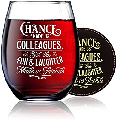 Badbananas Chance Made Us Colleagues But The Fun And Laughter Made Us Friends Funny Thank You Gifts For Coworkers Colleagues 21 Oz Engraved Stemless Wine Glass W Etched Coaster Amazon Sg Home